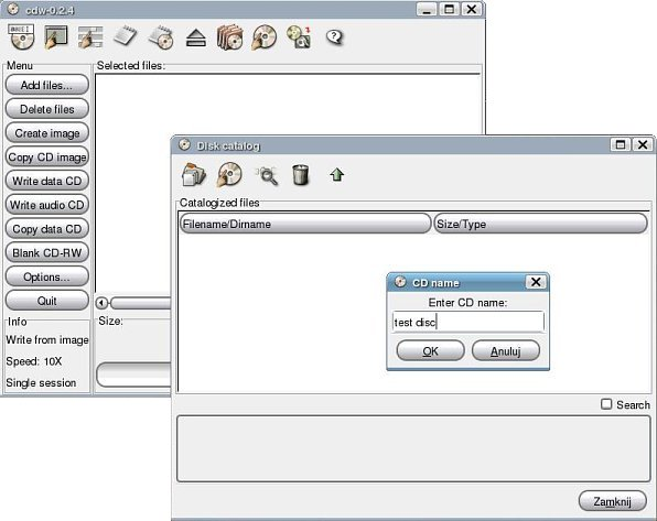 cdw with database enabled - disk catalog window